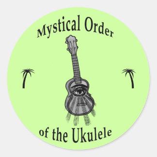Orden mística del Ukulele Pegatina Redonda