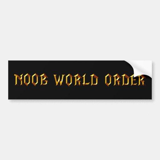 Orden mundial de Noob Pegatina Para Auto