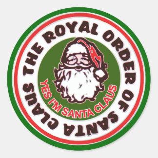 Orden real de Papá Noel Etiquetas Redondas