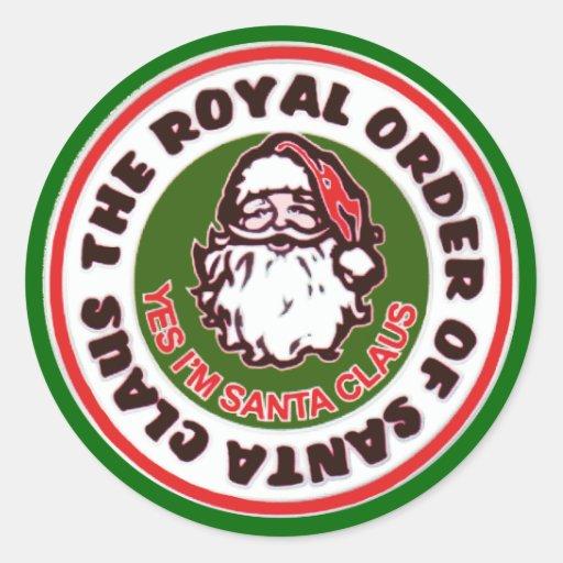 Orden real de Papá Noel Pegatina Redonda
