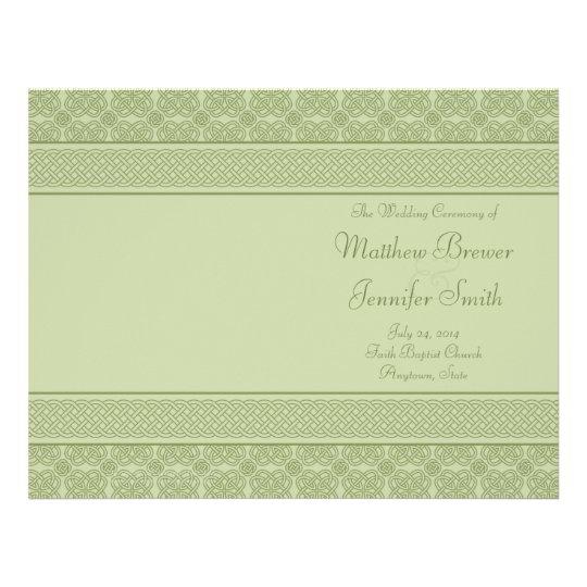 """Orden verde del boda del programa del servicio y folleto 8.5"""" x 11"""""""