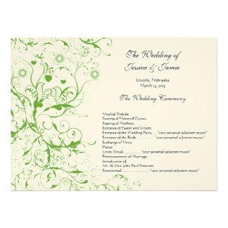 Orden verde del boda del remolino de los pájaros d invitaciones personales