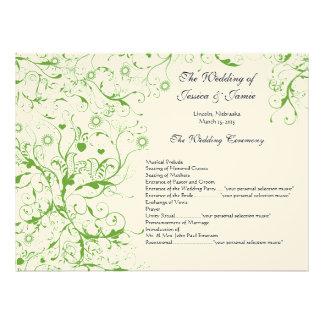 Orden verde del remolino de los pájaros del servic invitaciones personalizada