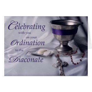 Ordenación católica al rosario de la cáliz del tarjeta de felicitación