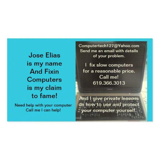 Ordenador de Jose Elias, del ordenador portátil o  Tarjetas De Negocios