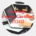 Ordenador portátil certificado etiquetas redondas