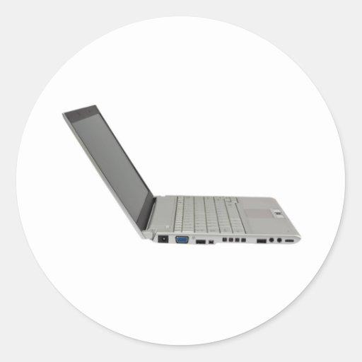 Ordenador portátil coloreado plata pegatinas redondas