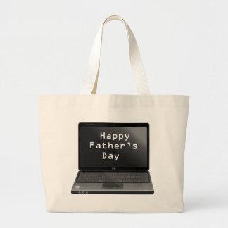Ordenador portátil feliz de los papás del día de p bolsa tela grande