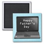 Ordenador portátil feliz de los papás del día de p imanes de nevera