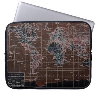 Ordenador portátil oscuro del mapa del mundo manga portátil