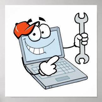 ordenador portátil tonto del dibujo animado de la  impresiones