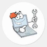 ordenador portátil tonto del dibujo animado de la  pegatina