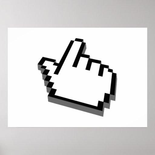 Ordenador que señala la mano póster