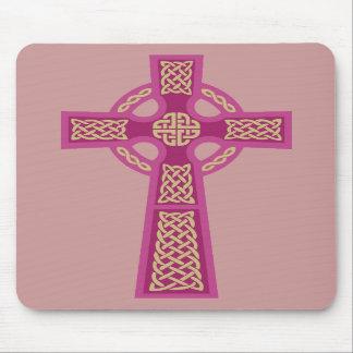Ordenador rosado Mousepad de la cruz céltica