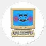 ordenador sonriente de ruborización tonto pegatina redonda