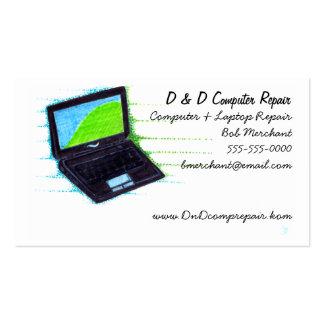 Ordenador y tarjeta de visita de la tecnología