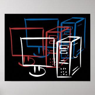 Ordenadores azules blancos rojos del minimalism tr póster