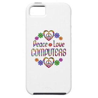 Ordenadores del amor de la paz iPhone 5 protector