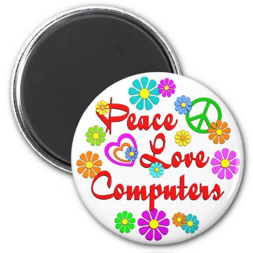 Ordenadores del amor de la paz imán de frigorifico