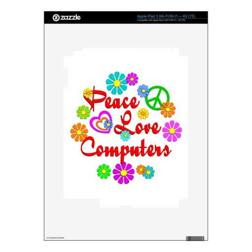 Ordenadores del amor de la paz pegatina skin para iPad 3