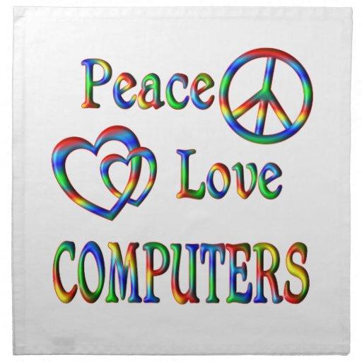 ORDENADORES del amor de la paz Servilletas De Papel