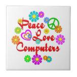 Ordenadores del amor de la paz teja cerámica