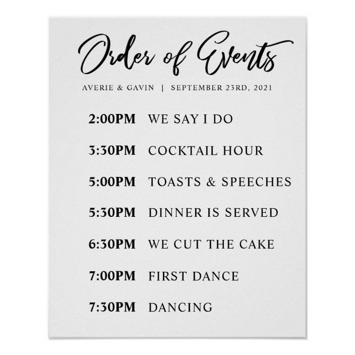 Order Of Events Wedding Day Schedule Poster Zazzle Com