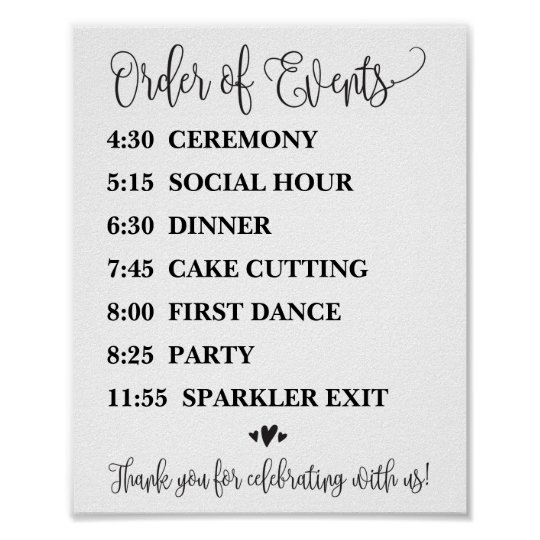Order Of Events Wedding Reception Or Ceremony Sign Zazzle