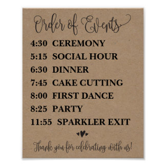Order of Events Wedding Schedule Sign