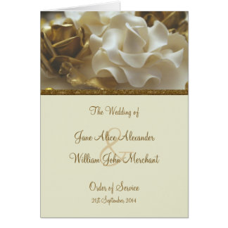 Order of Service Gold & Ivory Wedding Cake Roses Greeting Card