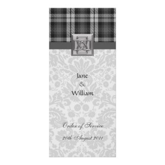Order of Service Grey Watch Tartan and Damask Rack Card
