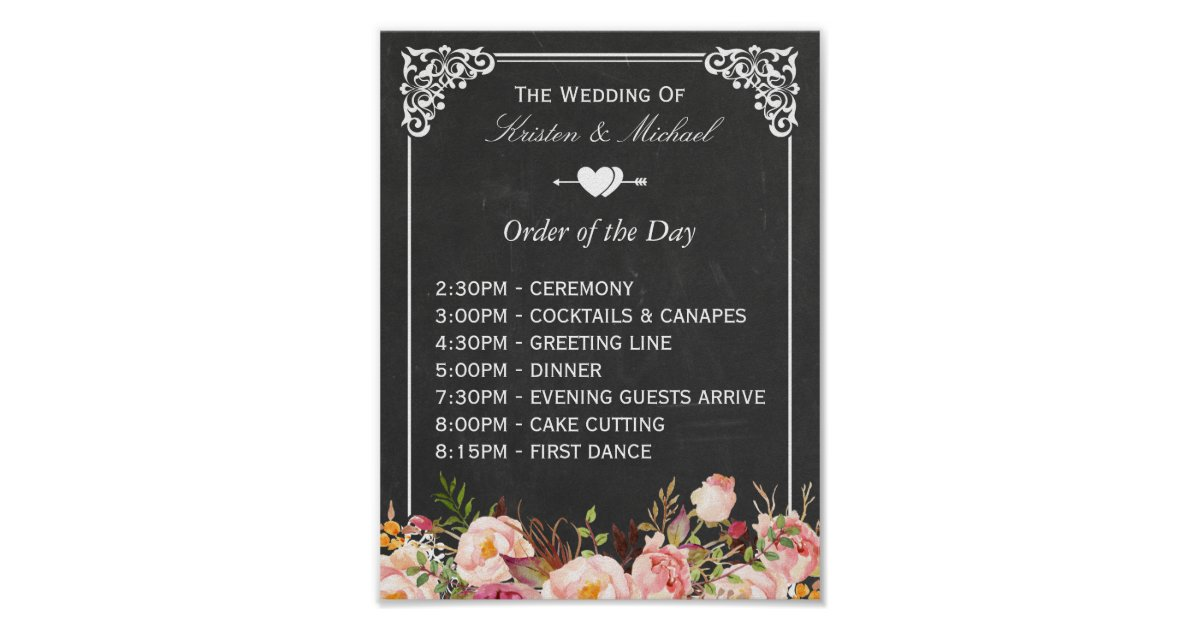 Wedding Order Of The Day: Floral Chalkboard Wedding Sign Poster