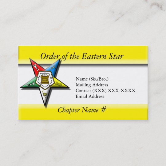 Order of the eastern star business card zazzle order of the eastern star business card reheart Images