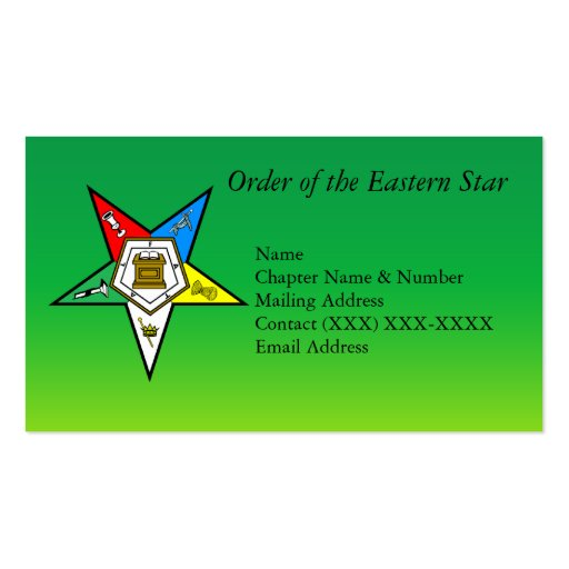 Order of the Eastern Star Double Sided Standard Business