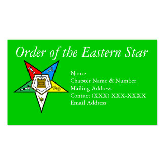 Order of the Eastern Star Green Business Cards