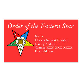 Order of the Eastern Star Red Business Card Templates
