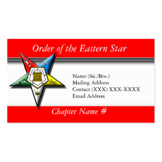 Order of the Eastern Star Red Business Card Template