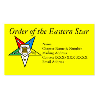 Order of the Eastern Star Yellow Business Card Template