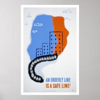 Orderly Line Civil Defense 1941 WPA Poster