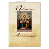 Ordination Anniversary Angels at Altar Greeting Cards