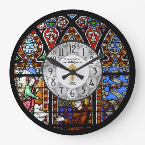 Ordination Anniversary Clock Stained Glass Custom