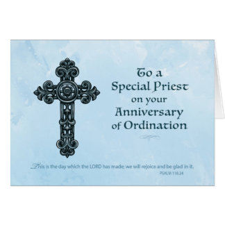 Ordination Anniversary of Priest, Ornate Cross Card