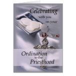 Ordination Congratulations Priest, Hosts and Cross Card