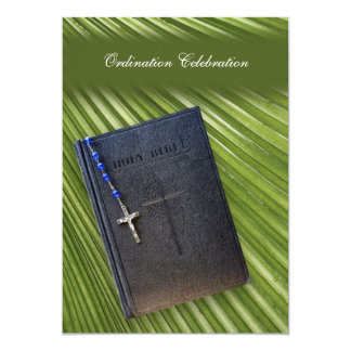 Ordination Party Invitation Bible and Palm Leaf