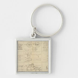 Ordnance, stores, etc Silver-Colored square keychain