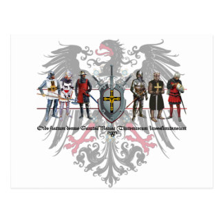 Ordo con águila y caballeros tarjeta postal teuton
