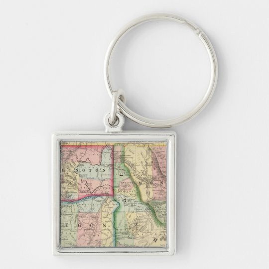 Ore, Wash, Idaho, Mont Map by Mitchell Keychain
