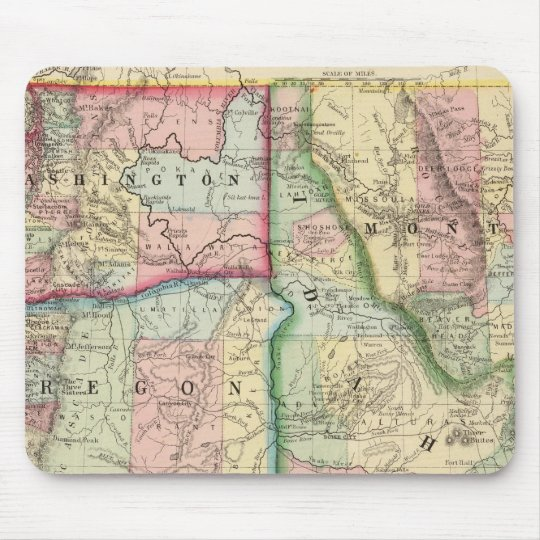 Ore, Wash, Idaho, Mont Map by Mitchell Mouse Pad