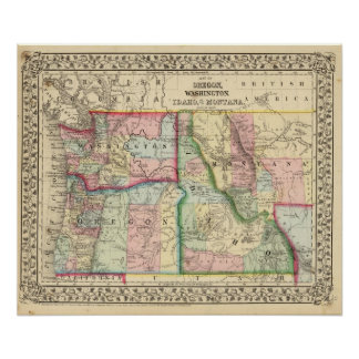 Ore, Wash, Idaho, Mont Map by Mitchell Poster
