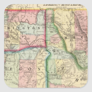 Ore, Wash, Idaho, Mont Map by Mitchell Square Sticker